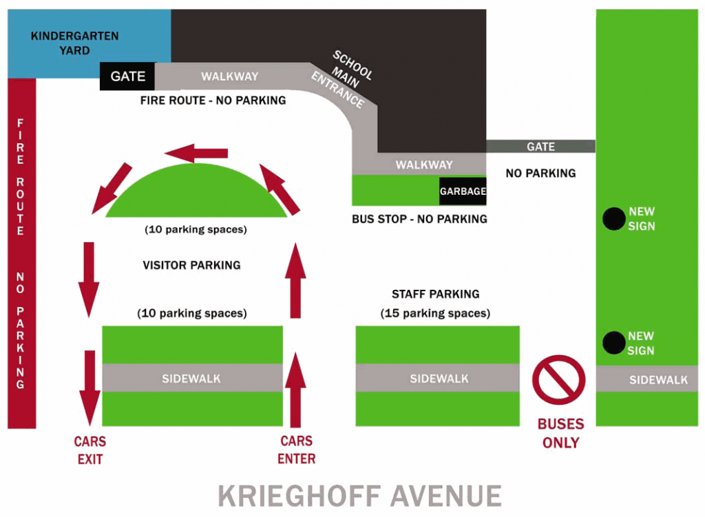 diagram of kiss and ride path, bus route and parking areas
